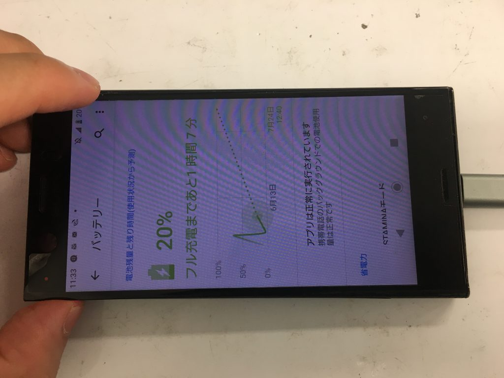 Xperia XZ1 Compact 充電可能